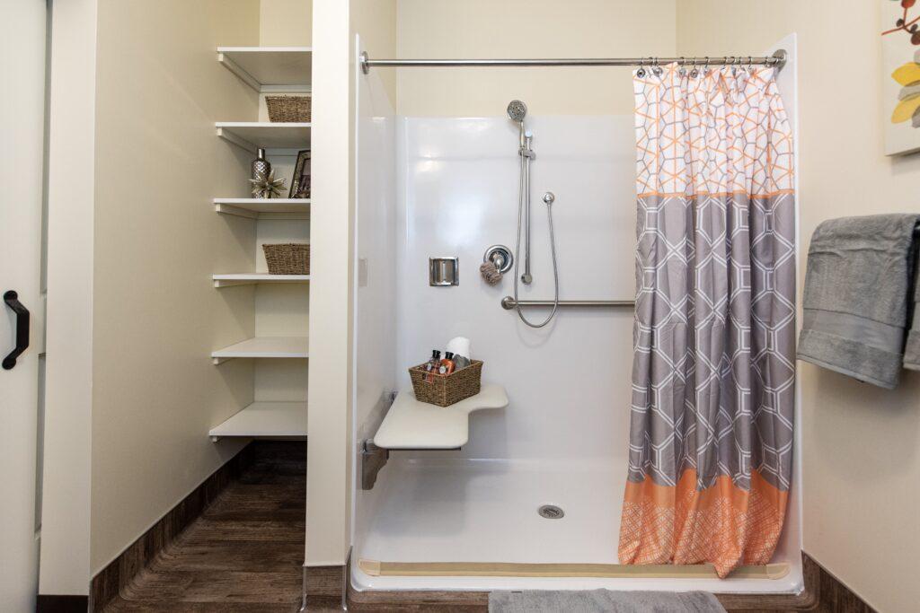Model - Shower showing shelving